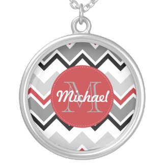 Chevron Red Grey Black Monogrammed Circle Stitches Round Pendant Necklace
