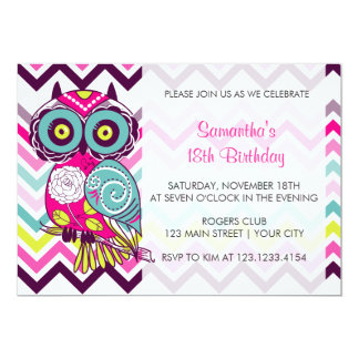 Chevron Retro Groovy Owl Birthday Party Card