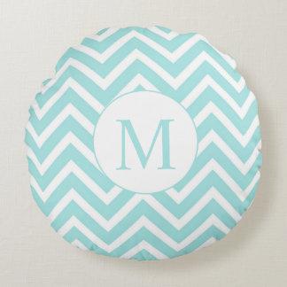 Chevron Round Monogram Pillow, Seafoam & White Round Cushion