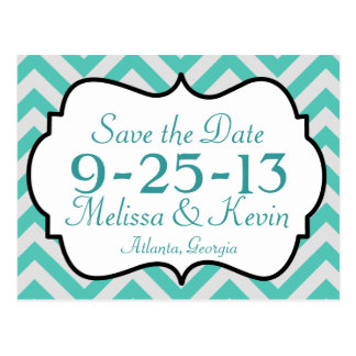 Chevron Save the Date Postcard