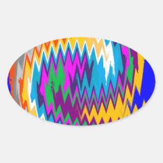Chevron Spiraling Zigzag Oval Sticker
