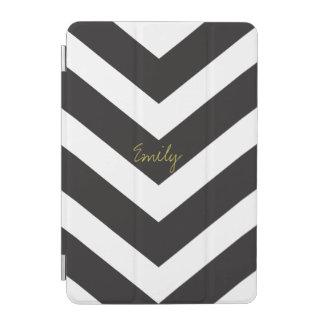 Chevron Stripe Black iPad Mini Cover Personalized
