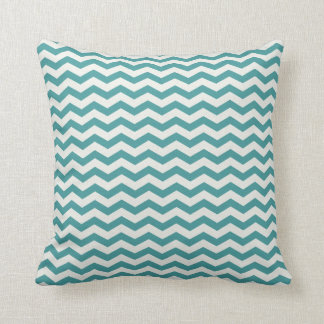 Chevron Stripe Teal and White American MOJO Pillow