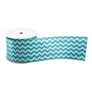 Chevron stripe wide ribbon turquoise white satin ribbon