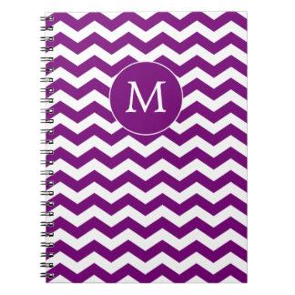 Chevron Striped Monogram Purple Notebook