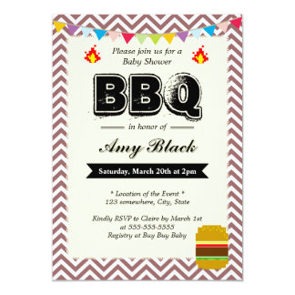 Chevron Stripes Baby Shower BBQ Party Invitations