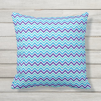 Chevron Stripes Blue Dots Outdoor Throw Pillow
