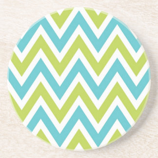 Chevron Stripes colorful blue and green Coaster