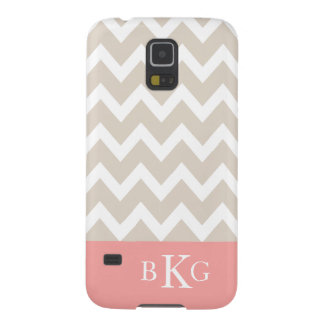 Chevron Stripes & Monogram | Beige Coral Cases For Galaxy S5