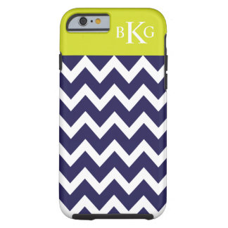 Chevron Stripes & Monogram   Navy Blue Lime Green Tough iPhone 6 Case