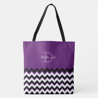 chevron stripes + name on purple tote bag