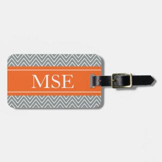 Chevron Stripes Personalized Monogram Grey Orange Luggage Tag