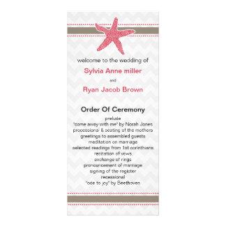chevron stripes, starfish mod beach wedding design rack card