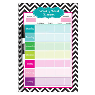 Chevron & Stripes Weekly Meals Dry Erase Board