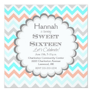 Chevron Sweet Sixteen Birthday Invitation