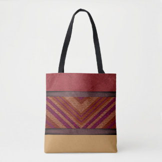 Chevron, Tan, Purple, Burgundy - Handbag/Tote Tote Bag