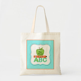 Chevron Teacher Bag with Green Apple