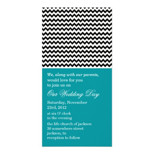 Chevron Teal Photo Cards Wedding Invites