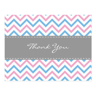 Chevron Thank You Postcard-Blue & Pink Postcard