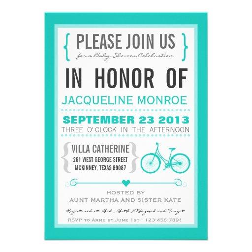 Chevron Trendy Bicycle Baby Shower Invitation