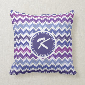 Chevron Tribal ZigZag Pattern in Blue and Purple Cushion