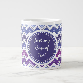 Chevron Tribal ZigZag Pattern in Blue and Purple Large Coffee Mug