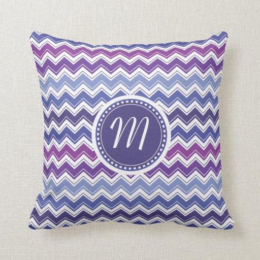 Blue Purple Throw Pillows : Chevron Tribal ZigZag Pattern in Blue and Purple Throw Pillows Zazzle