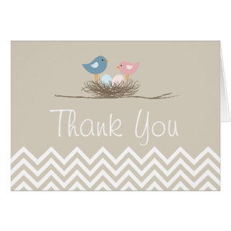 Chevron Twin Pink and Blue Bird's Nest Thank You Card