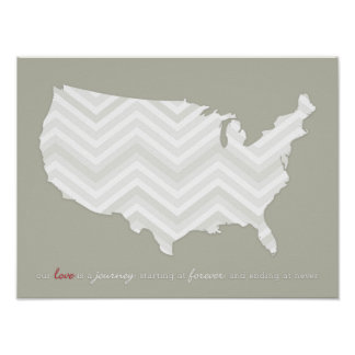 Chevron United States Love is a Journey Print
