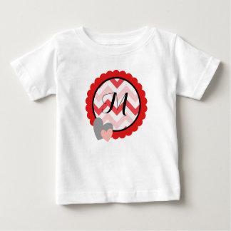 Chevron Valentine Pink Red Initial Monogram Circle Baby T-Shirt
