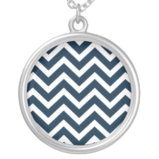 Chevron Waves in Midnight Blue and White ZigZag Necklace
