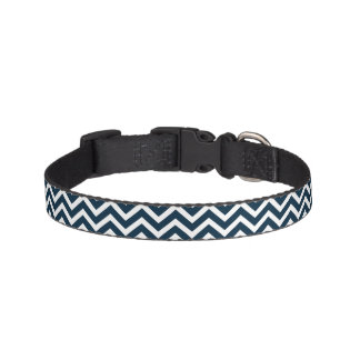 Chevron Waves in Midnight Blue and White ZigZag Pet Collars