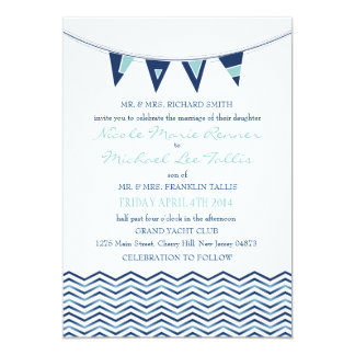 Chevron Waves with Nautical Love Banner Invitation