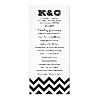 Chevron Wedding Programs Custom Rack Cards