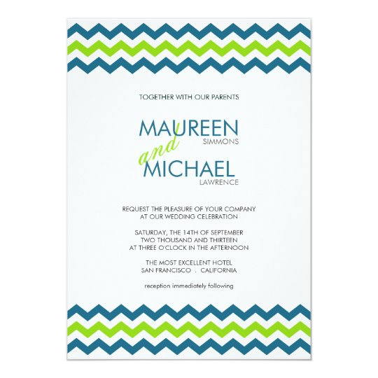 Chevron Wedding ZigZag Blue and Lime Invitations