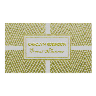 Chevron White and Gold Pack Of Standard Business Cards