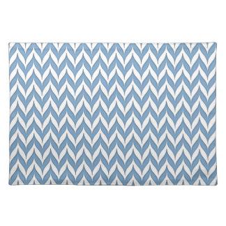 Chevron Wing Striped Pattern Hydrangea Blue Placemat