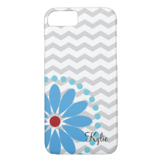 Chevron with Blue Flower Cell Phone Case