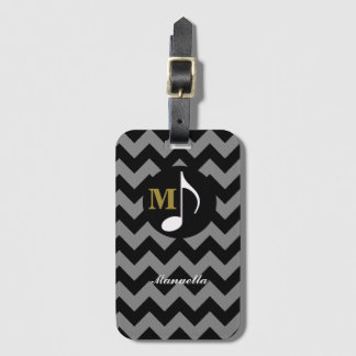 chevron with musical note, personalized luggage tag