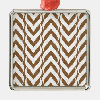 Chevron Zig Zag Brown Silver-Colored Square Decoration