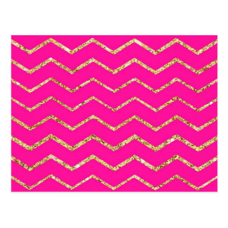 chevron zig zag happy pink gold glitter pattern postcards