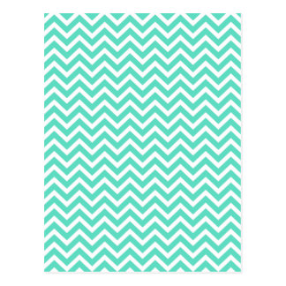 Chevron Zig Zag in Tiffany Aqua Blue Postcard
