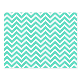 Chevron Zig Zag in Tiffany Aqua Blue Post Card