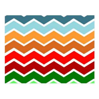 Chevron zig zag multiple colors pattern fun happy postcard