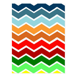 Chevron zig zag multiple colors pattern fun happy post card