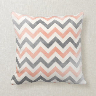Chevron zig zag pillow Coral red and grey