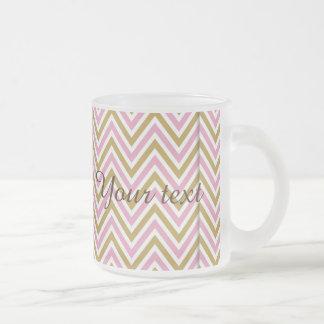 chevron,zig zag,pink,gold,white,trendy,girly,cute, frosted glass mug