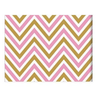 chevron,zig zag,pink,gold,white,trendy,girly,cute, postcard