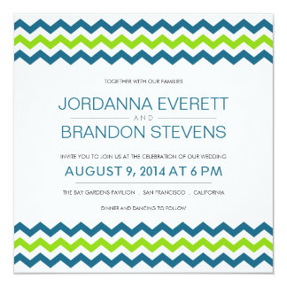 Chevron Zig-Zag Square Wedding Invitations