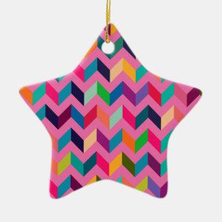 Chevron Zig Zag Wild Pink Ceramic Star Decoration